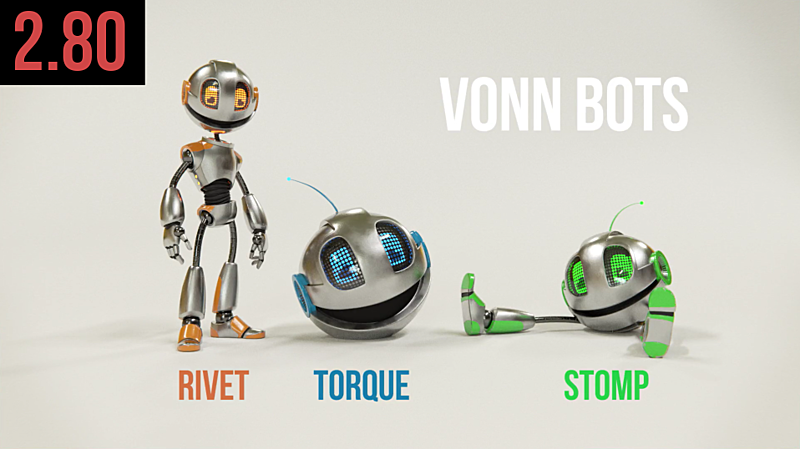 "Download our Ready-to-Use Animation Rigs ""VonnBots"" (now Blender 2.8 Beta Compatible!)"