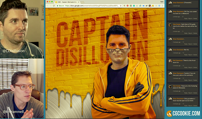 Captain Disillusion livestream with Kent Trammell on Blender and more