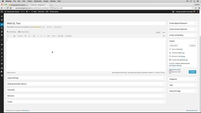 Publishing Web GL with Wordpress