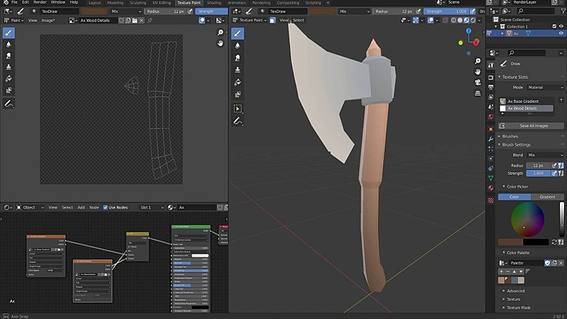 Texture Painting a Low Poly Ax pt. 1