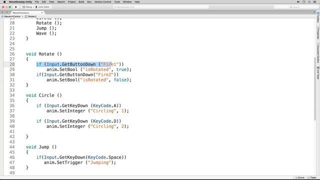 Mecanim Scripting