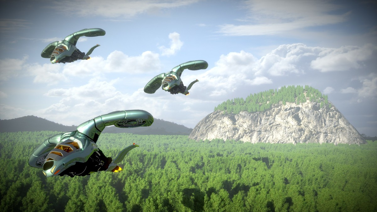 Sci-Fi Vehicle Jungle Scene