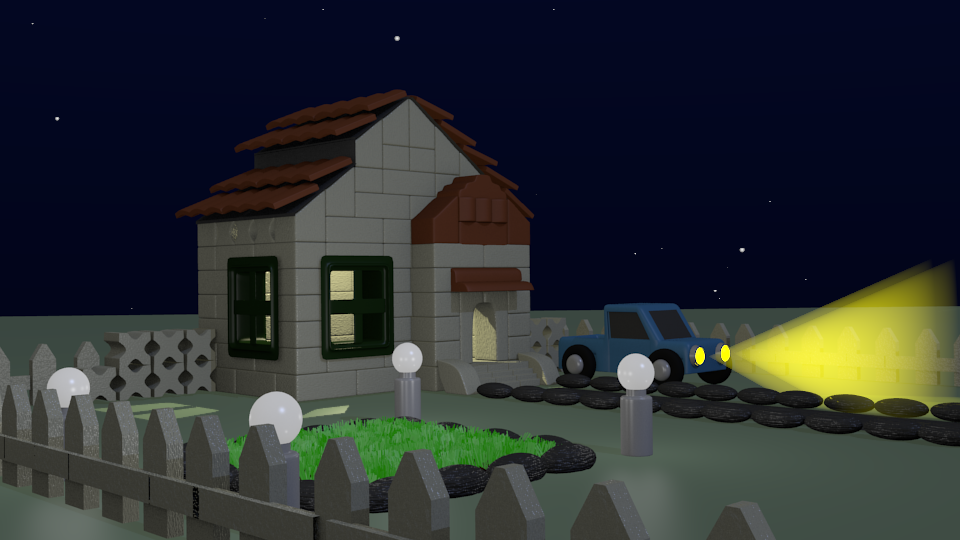 Miniature House (Left Side View) Version 2 (Night)