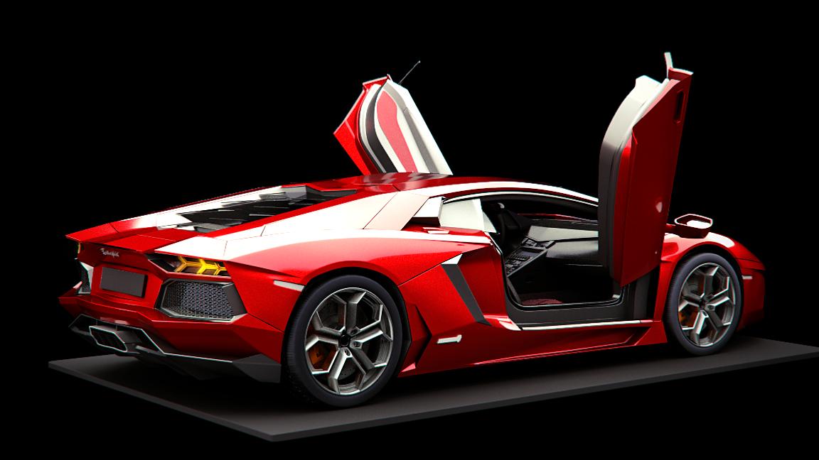 Lamborghini Aventador Back View Work In Progress Cg Cookie