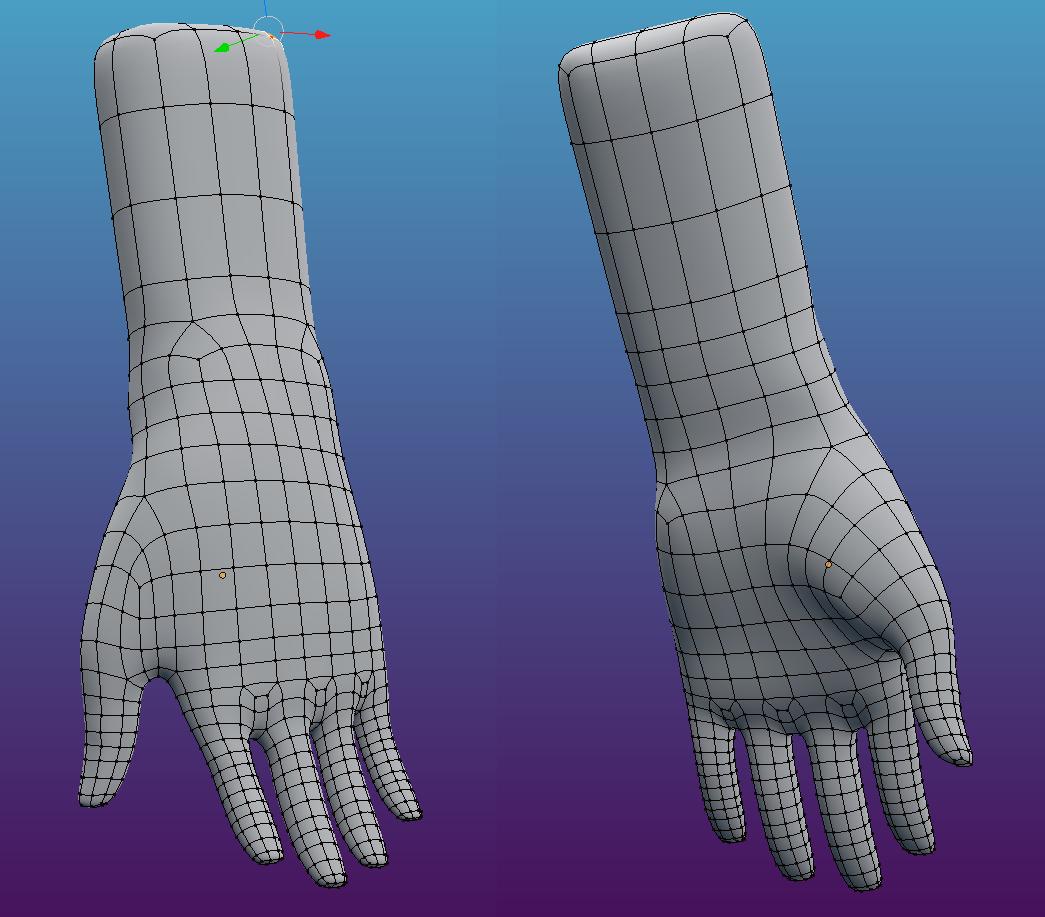 Character Hand Retopo