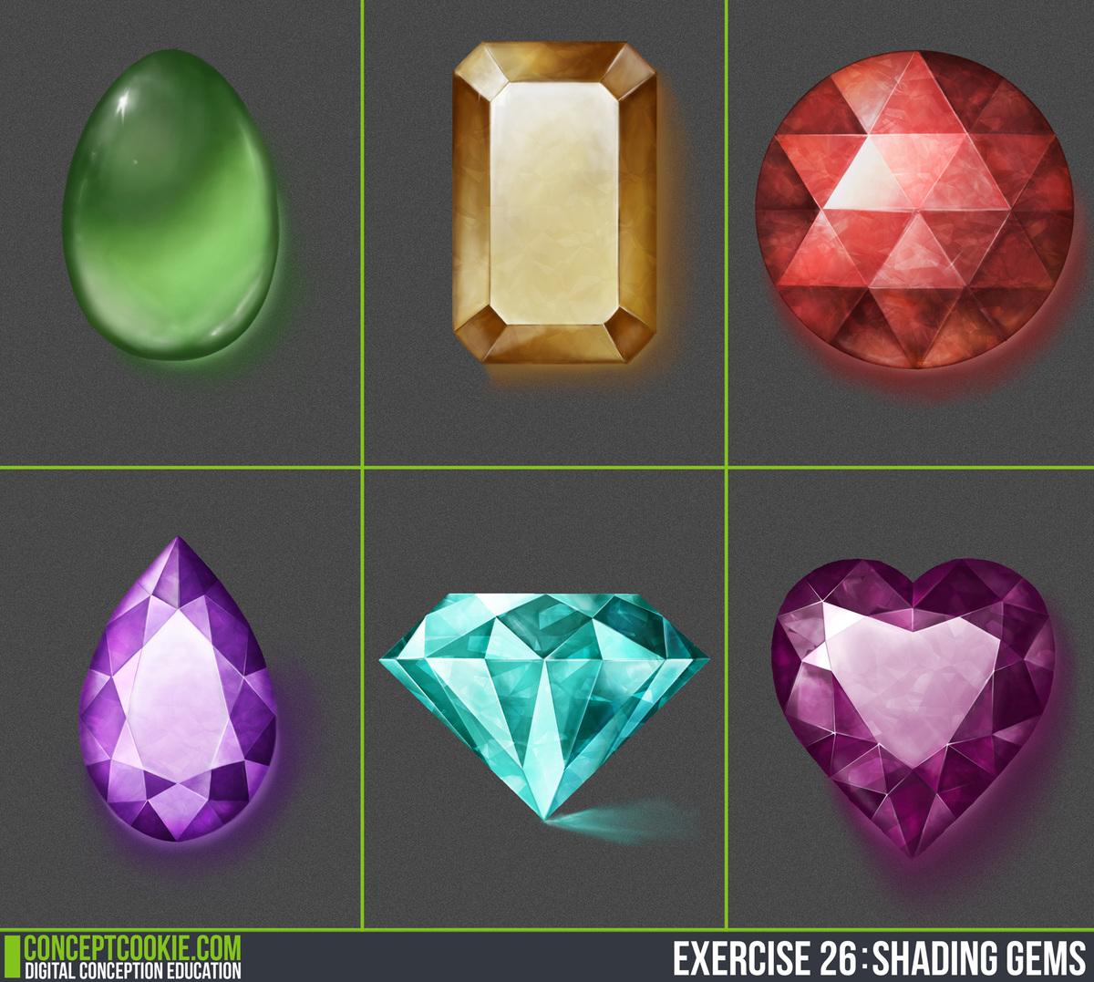 Gems Stones - Digital Painting - CG Cookie