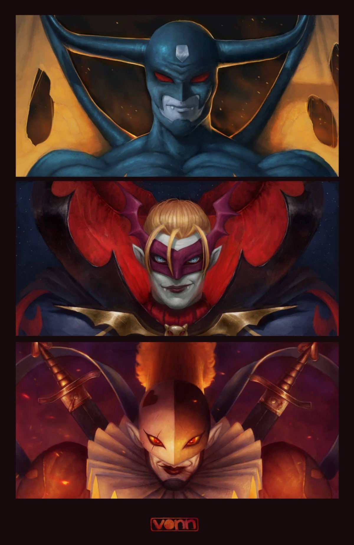 The Demon, the Vampire, and the Clown.