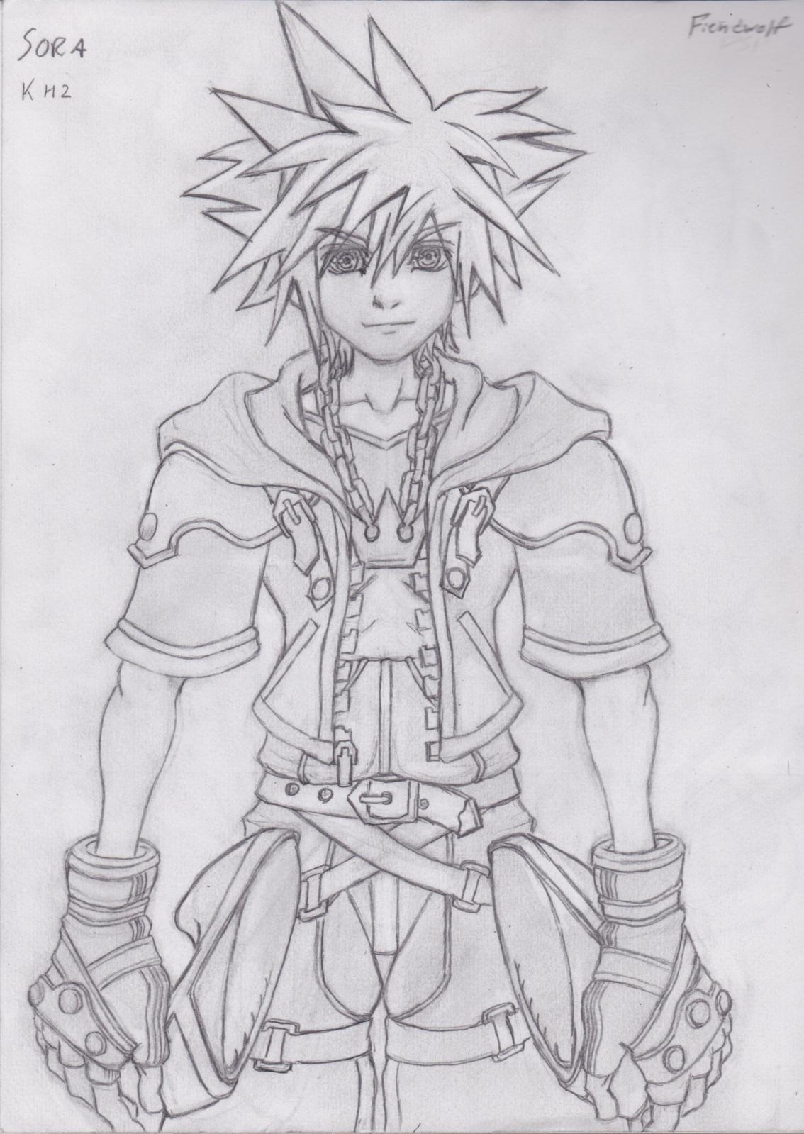 Practice sketch kingdom hearts ii sora