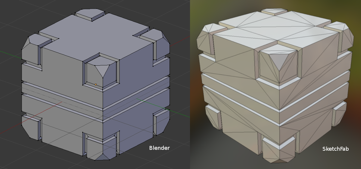 Exercise 1 Cube with Ngons in Blender and in SketchFab  - CG Cookie