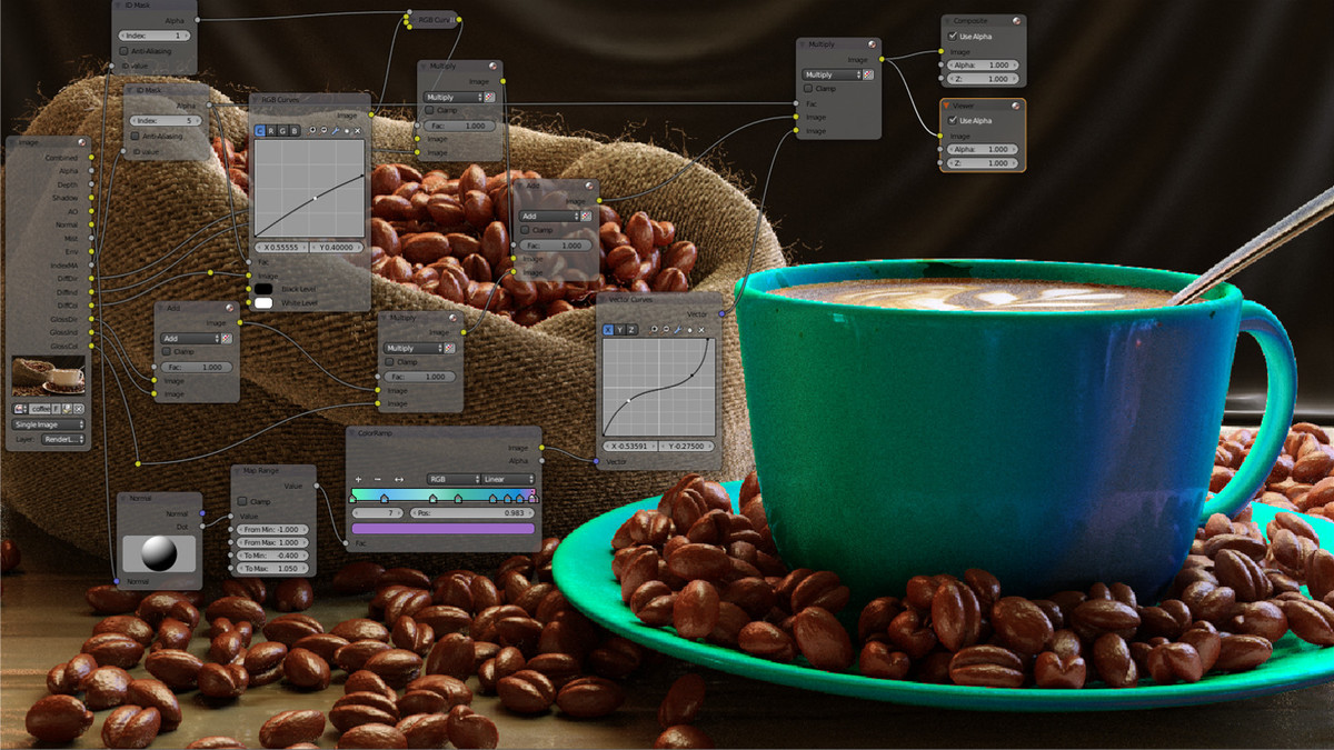 Compositing a Coffee Scene: Multiple id masked diffuse. WIP2b