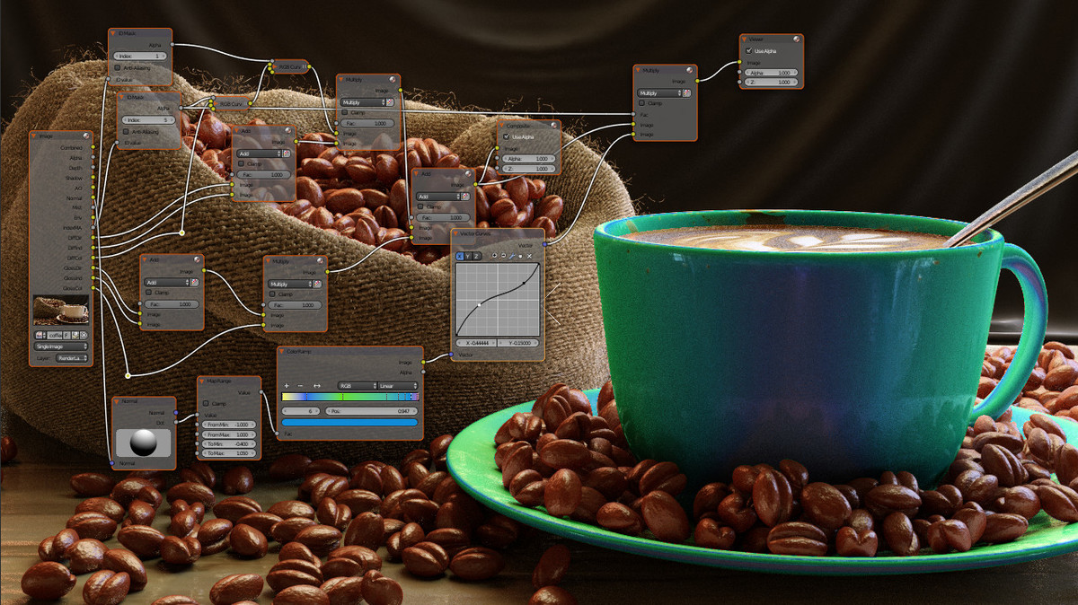 Compositing a Coffee Scene: Multiple id masked diffuse. WIP2