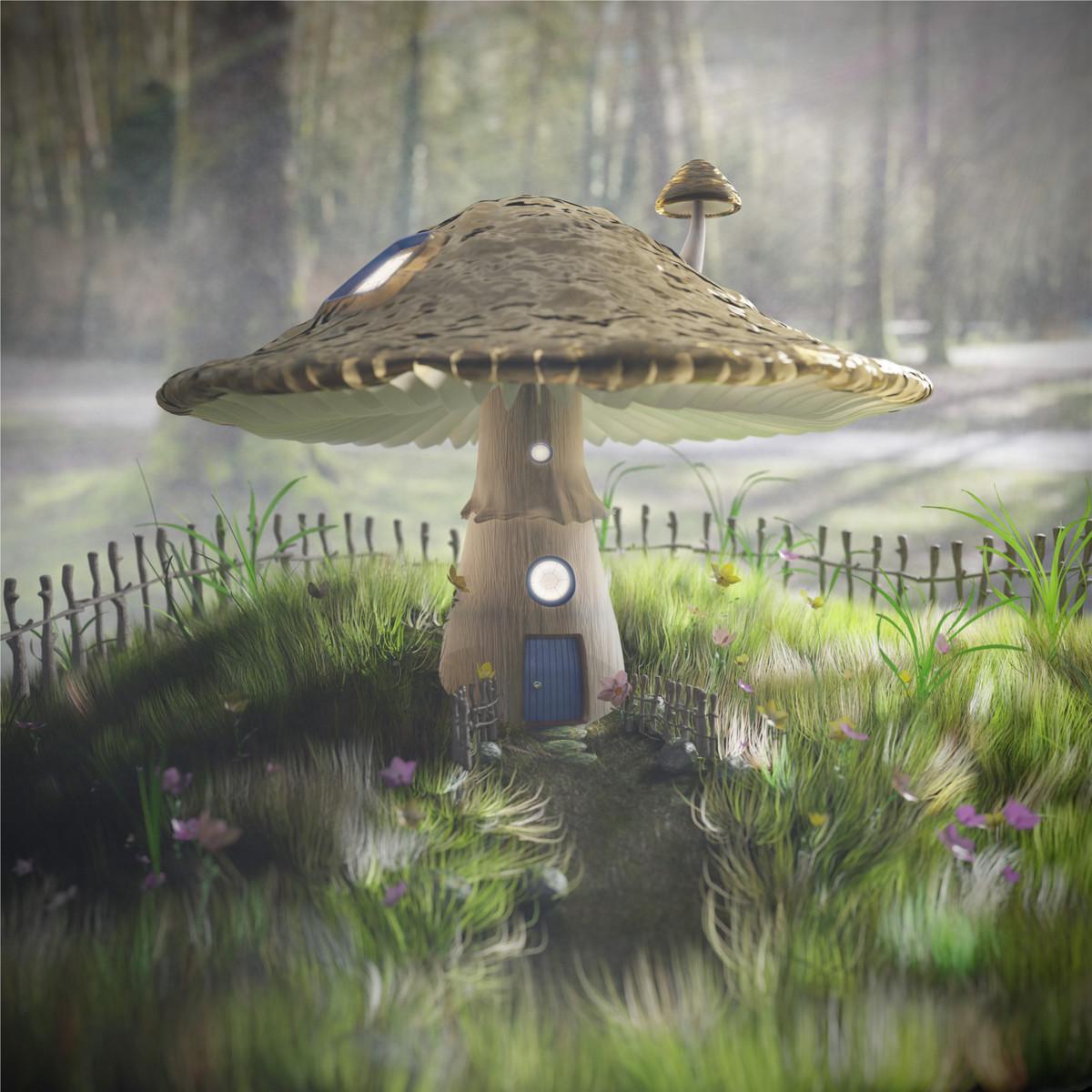 Fairy Tale Mushroom House in the Mist