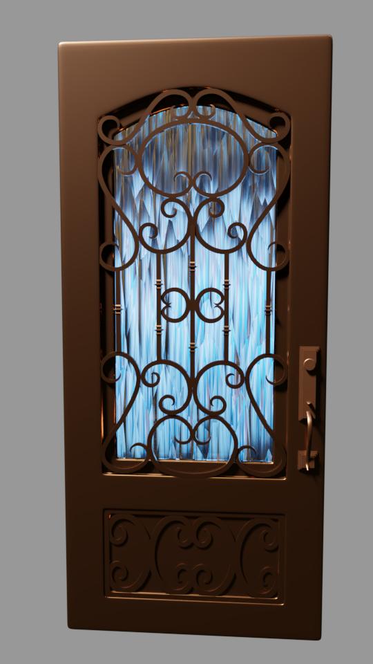 Door with flourishes