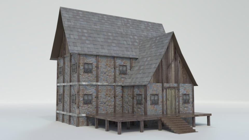 Log cabin game asset
