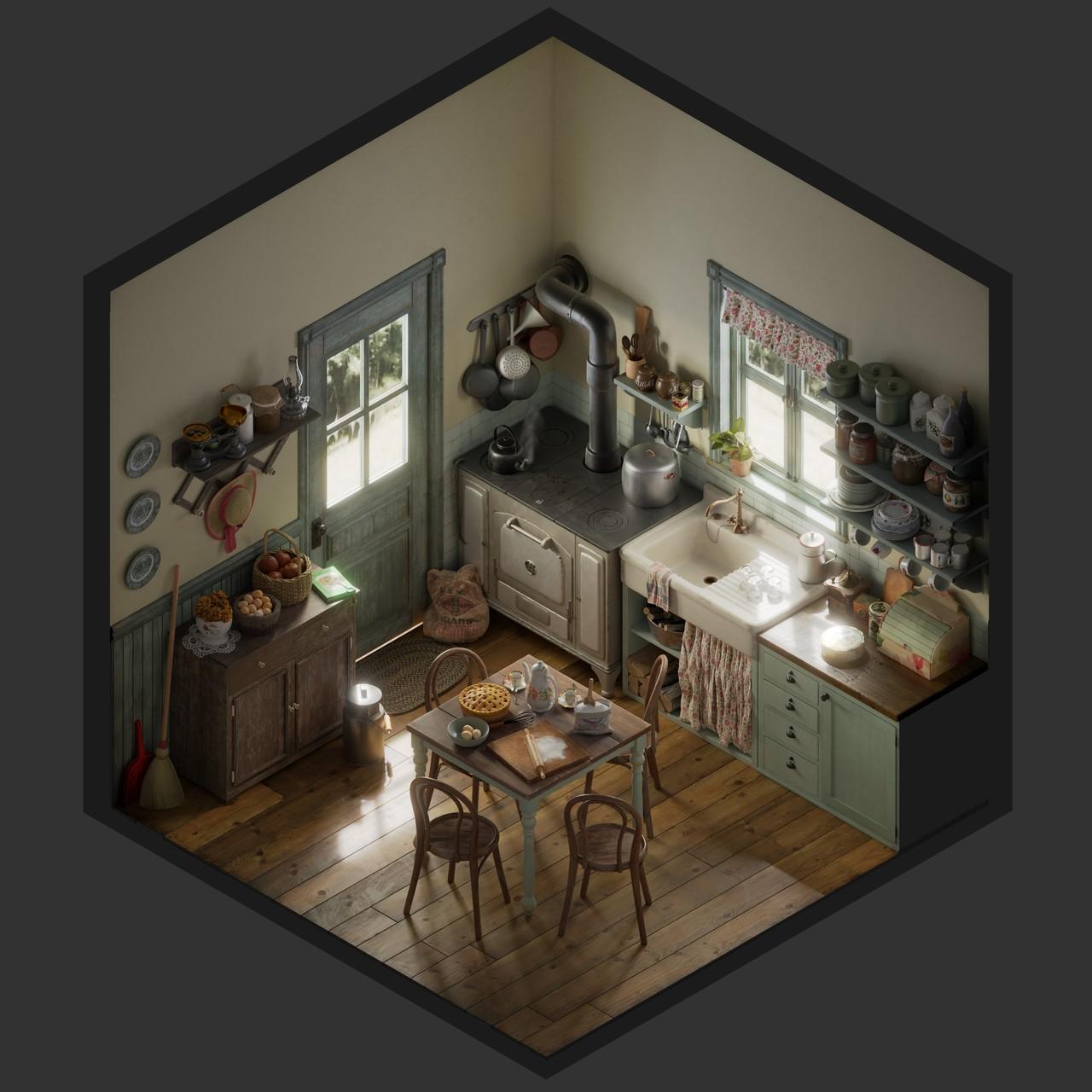 Vintage kitchen - Isometric
