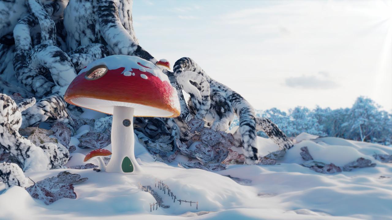 Winter Mushroom House