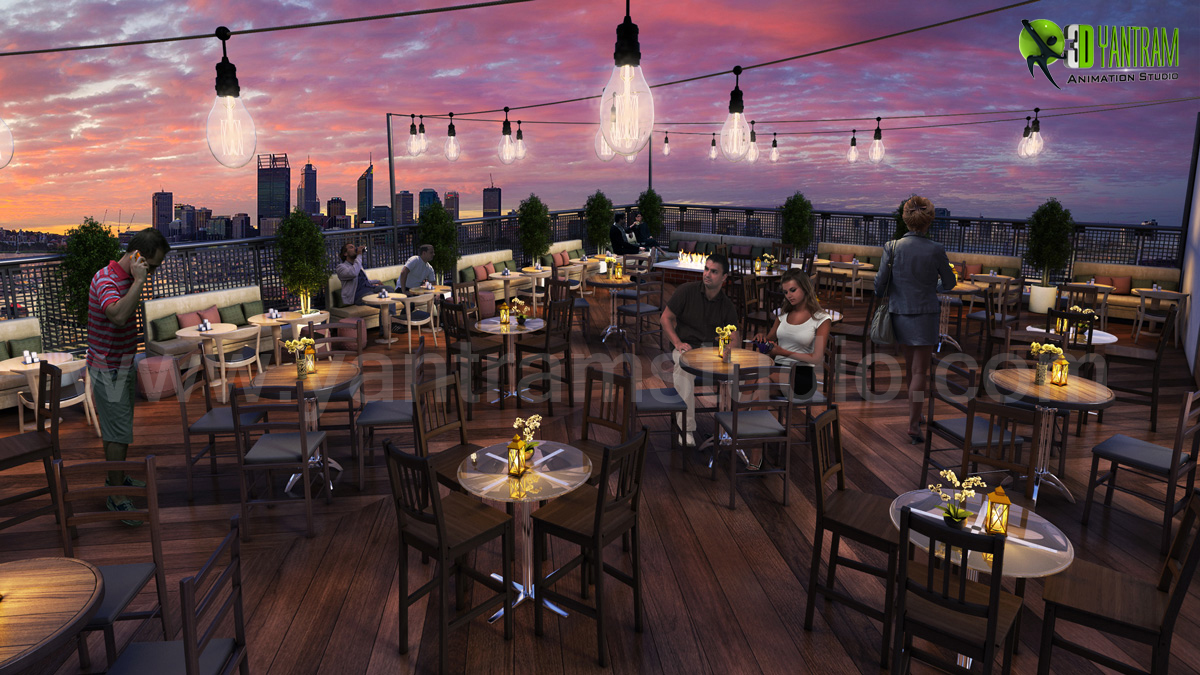 Rooftop Layout Lounge 3D Rendering Design Evening View by Yantram architectural rendering service Atlanta, USA