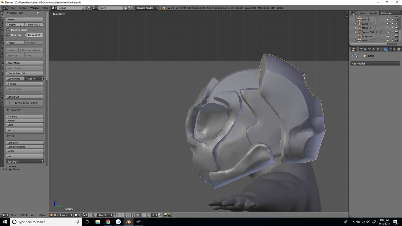 SCI FI HELMET PHASE 1 SCULPTING (STILL DEVIL)