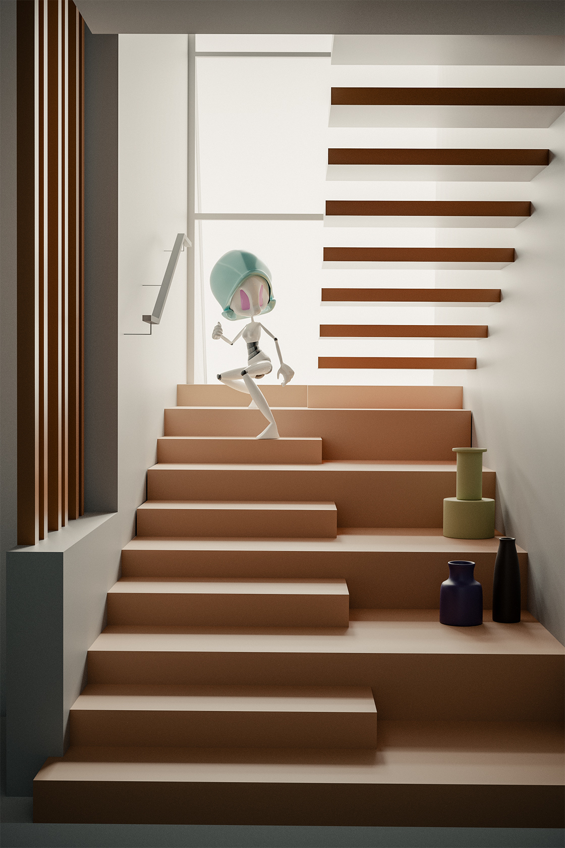 Heroina on the stairs