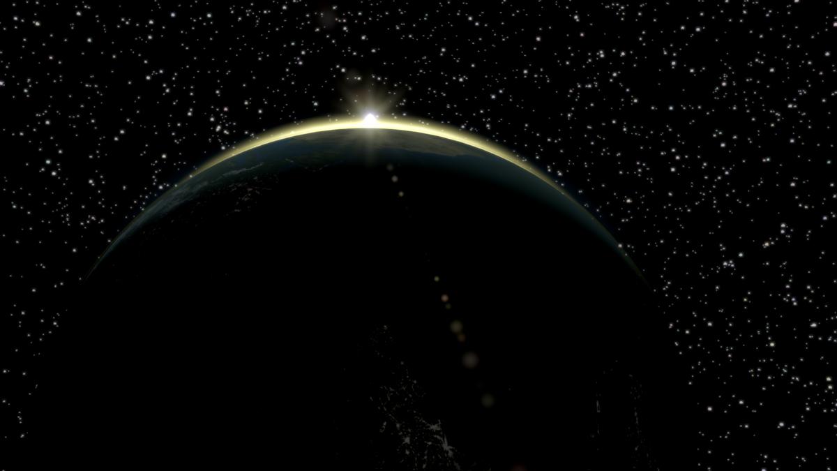 Sun peaking over Earth