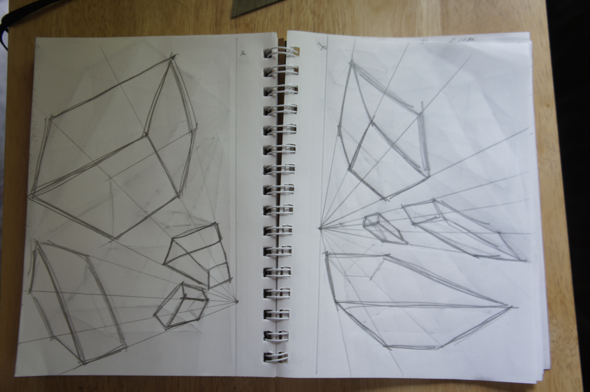 Boxes in 1 Point Perspective