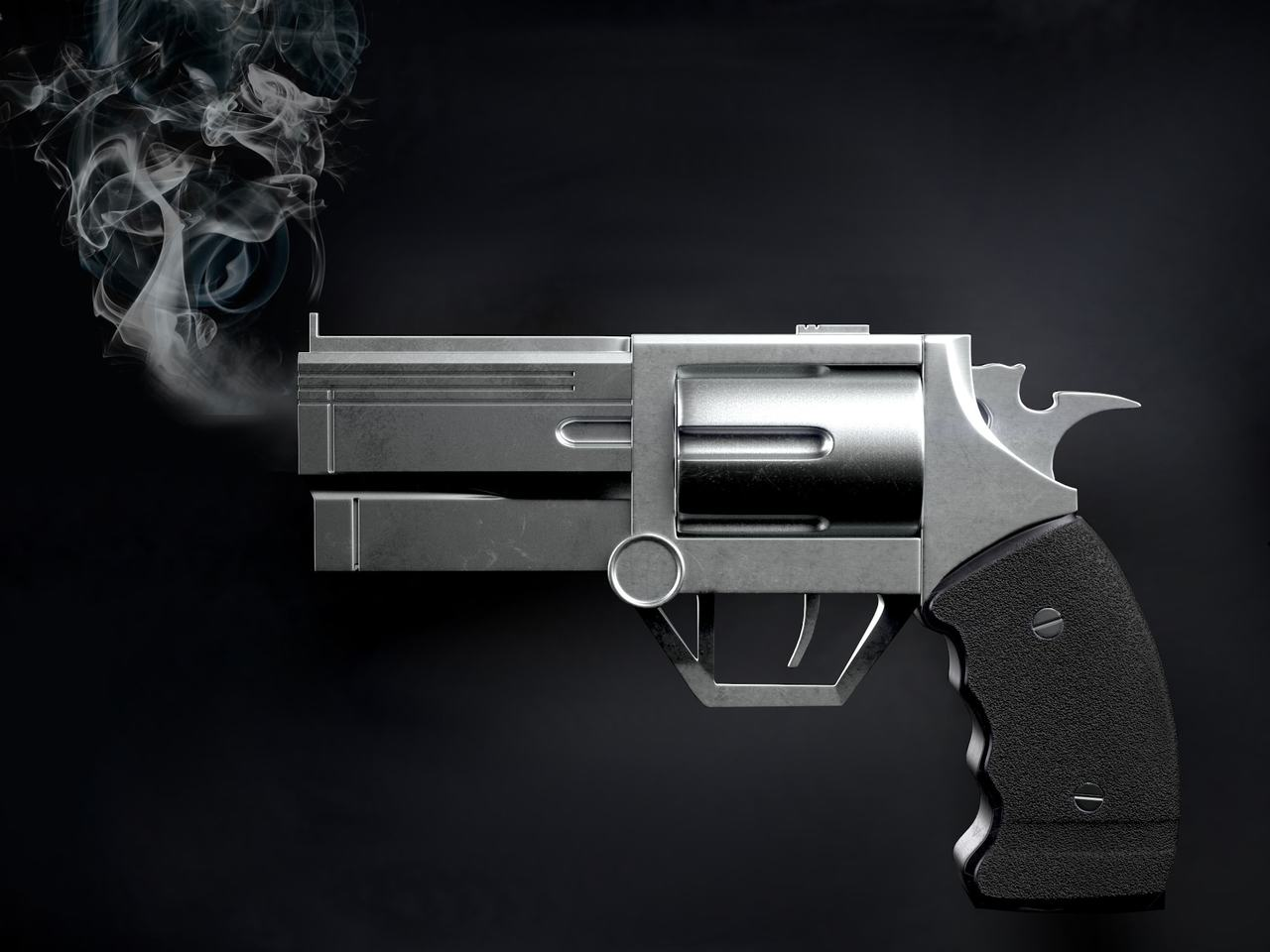 Smoking (hot) revolver