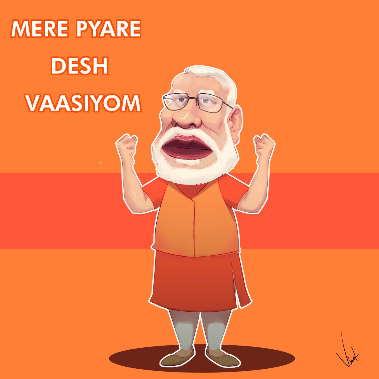 Indian prime minister Modi Caricature
