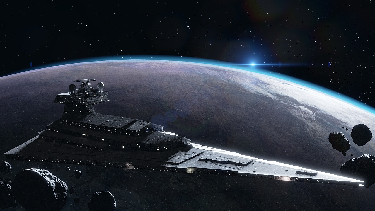 Imperial Star Destroyer guarding a planet.