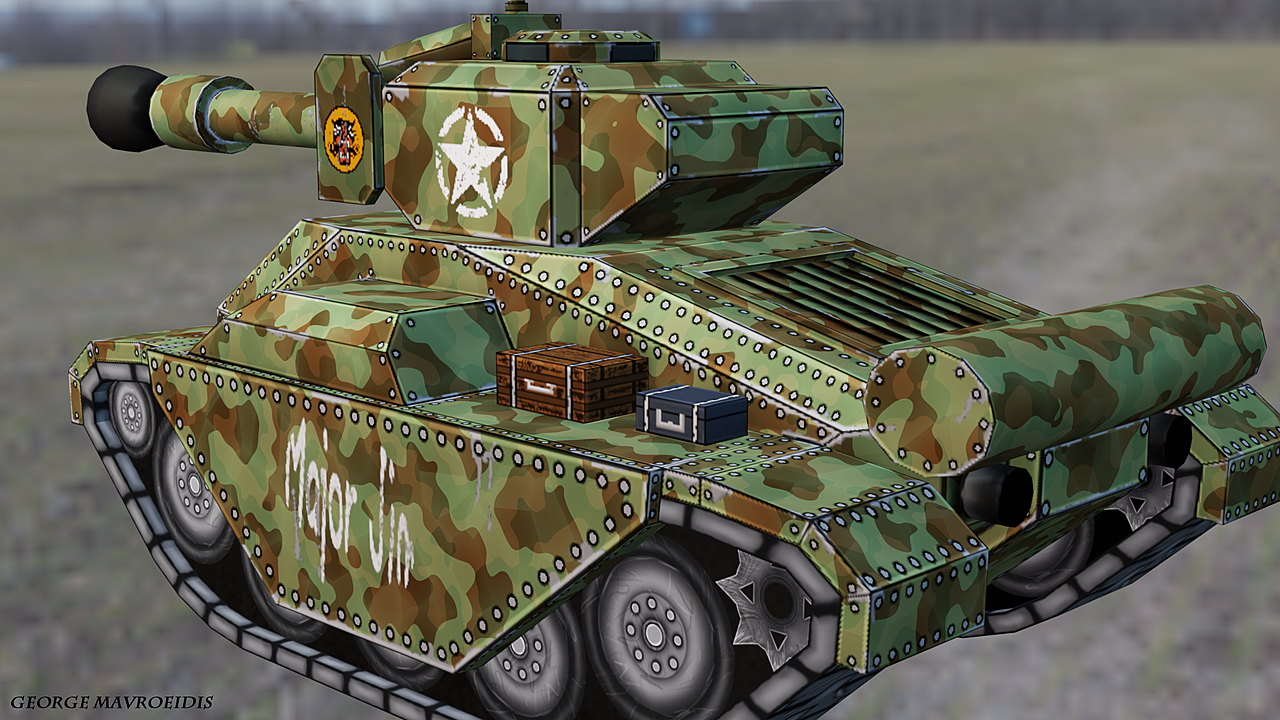 Game Ready Tank Model - Stylized T26E1-1 Super Pershing