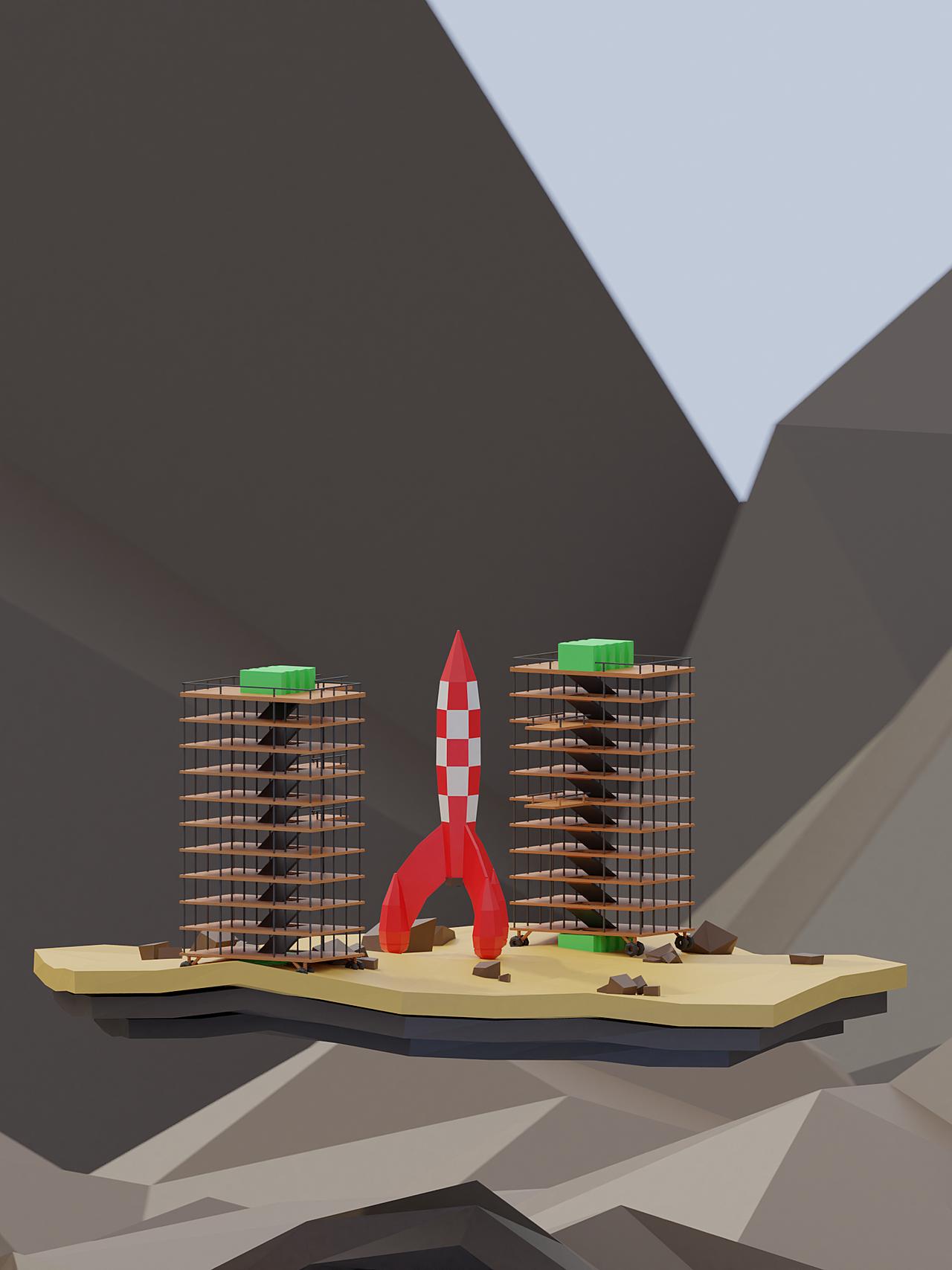Belgian Low Poly Rocket