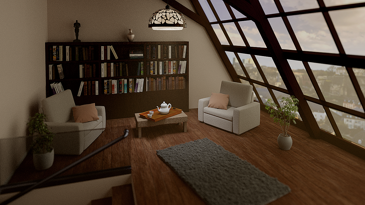 Room with library and tea set. Feedback is welcome!