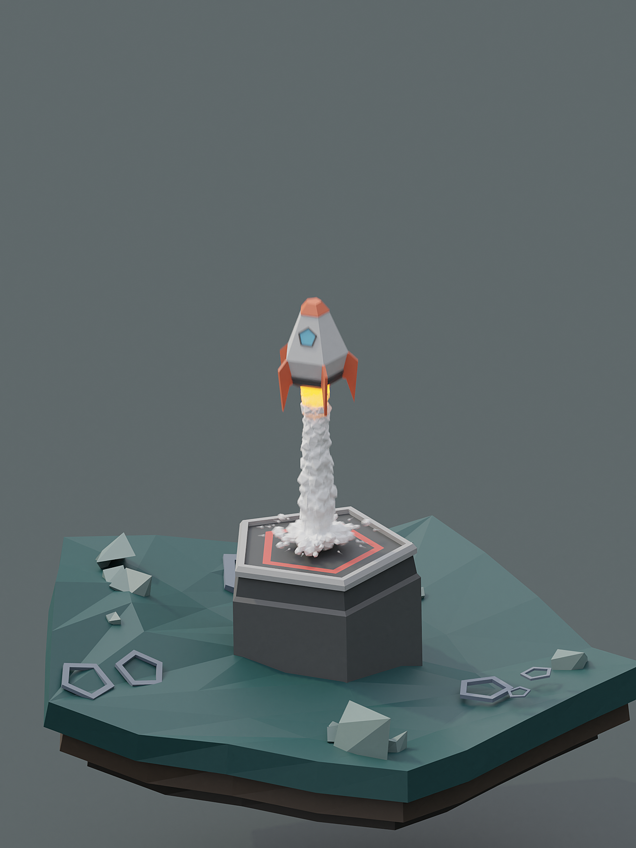 [From Tutorial] Animated Low-Poly Rocket