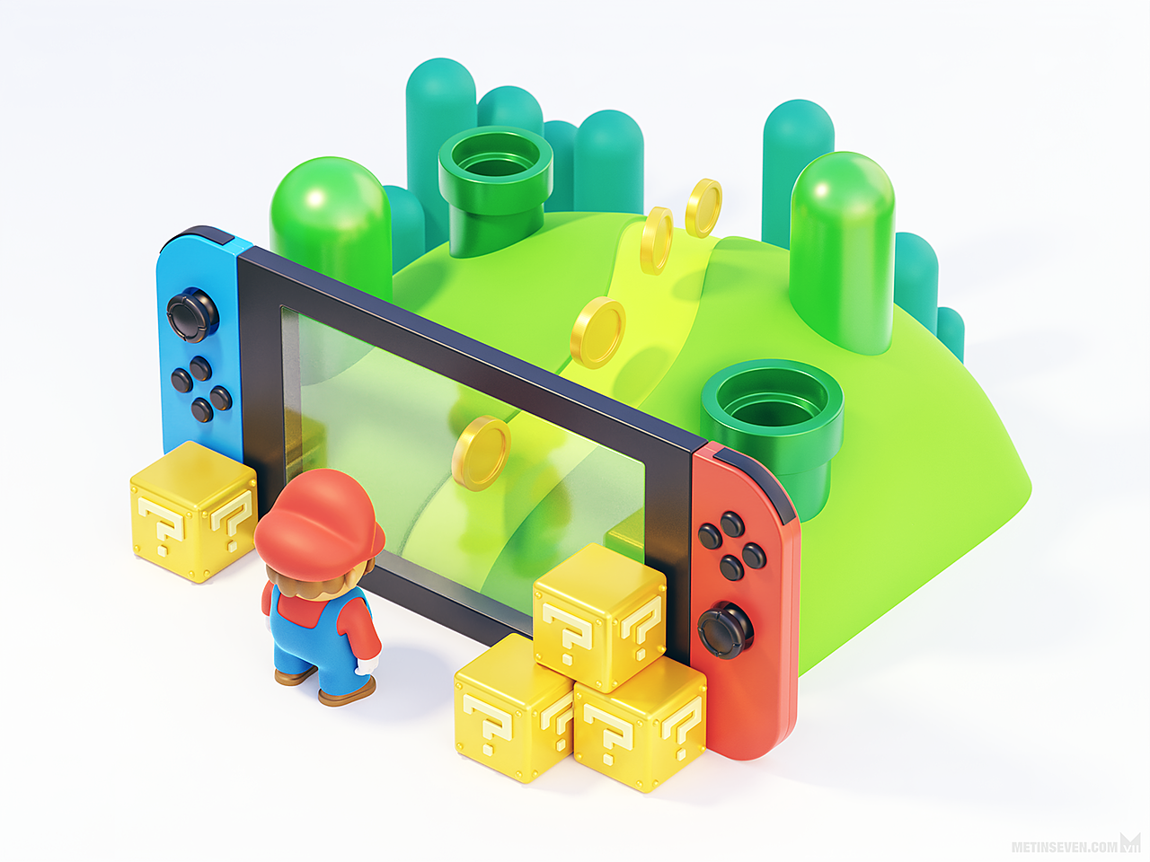 Making the Switch — 3D illustration featuring Mario