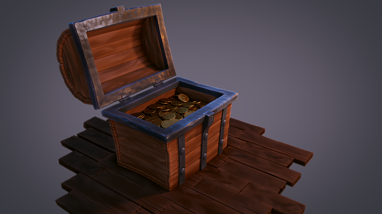 Treasure chest filled with coins
