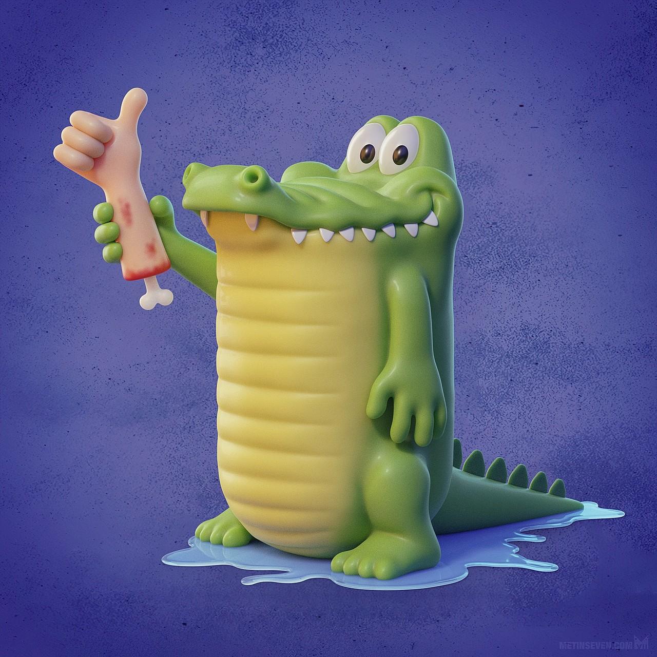 Thumbs up— Cute 3D crocodile cartoon character design