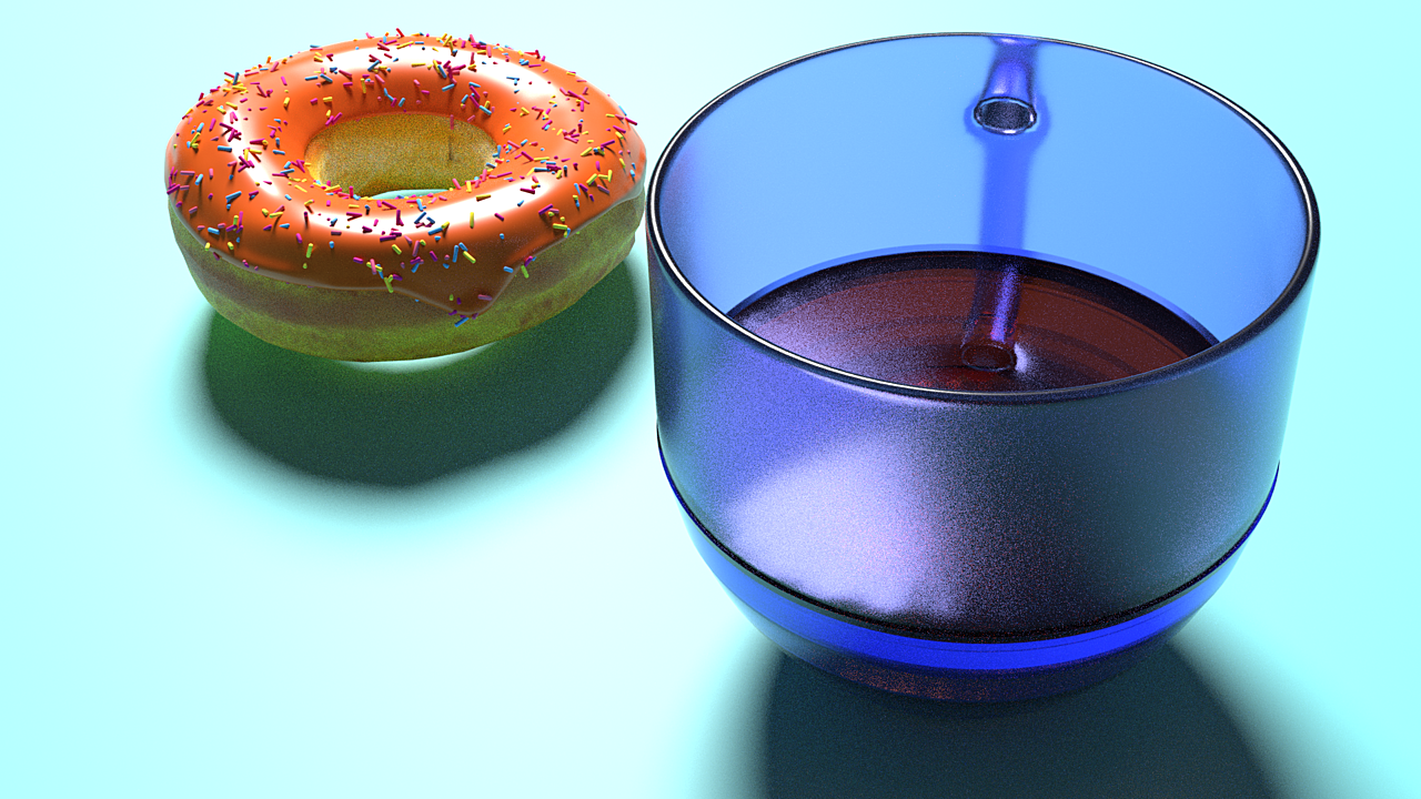 3D donut and coffee