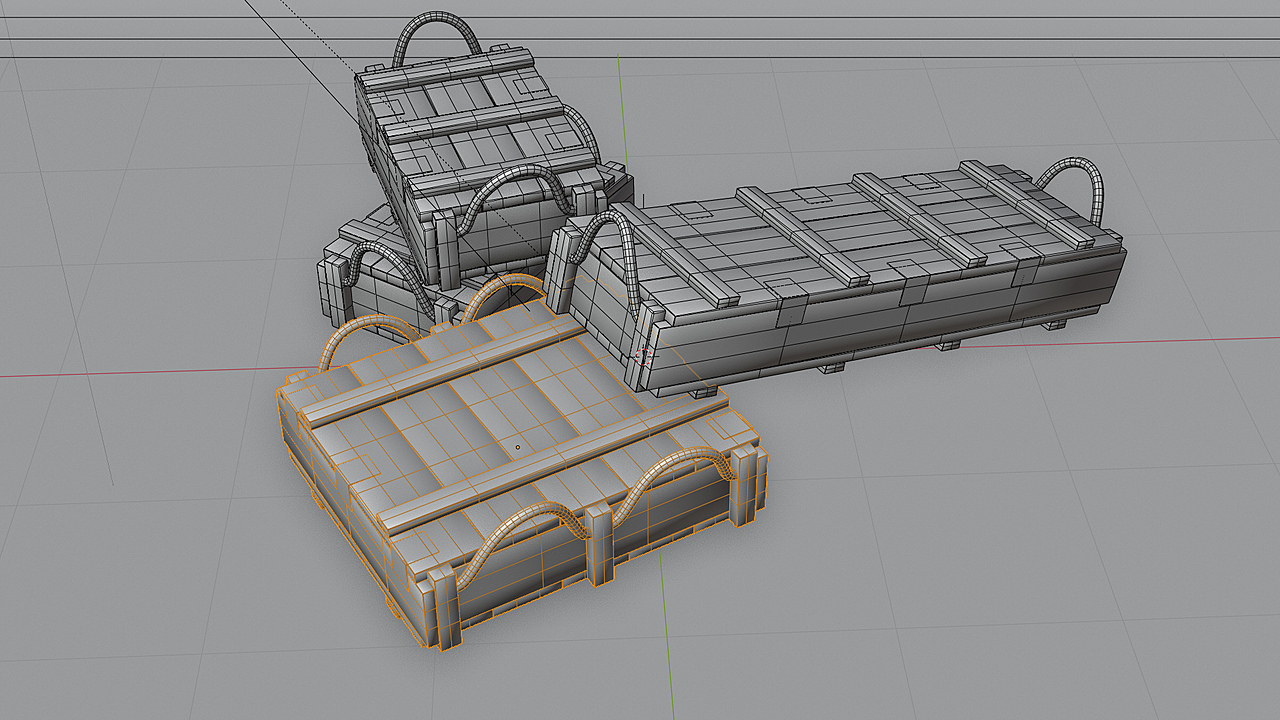 Turn tables of low poly Ammo Crates game ready assets with 3 different sizes