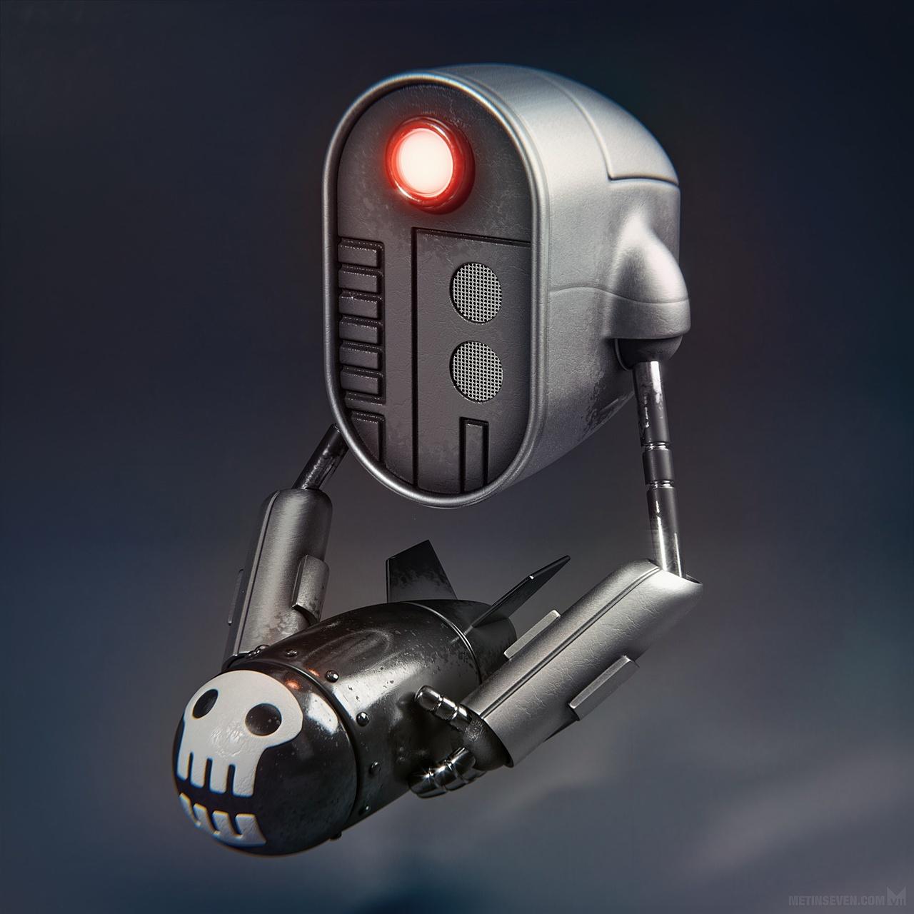 Bombot — War robot / military drone character design