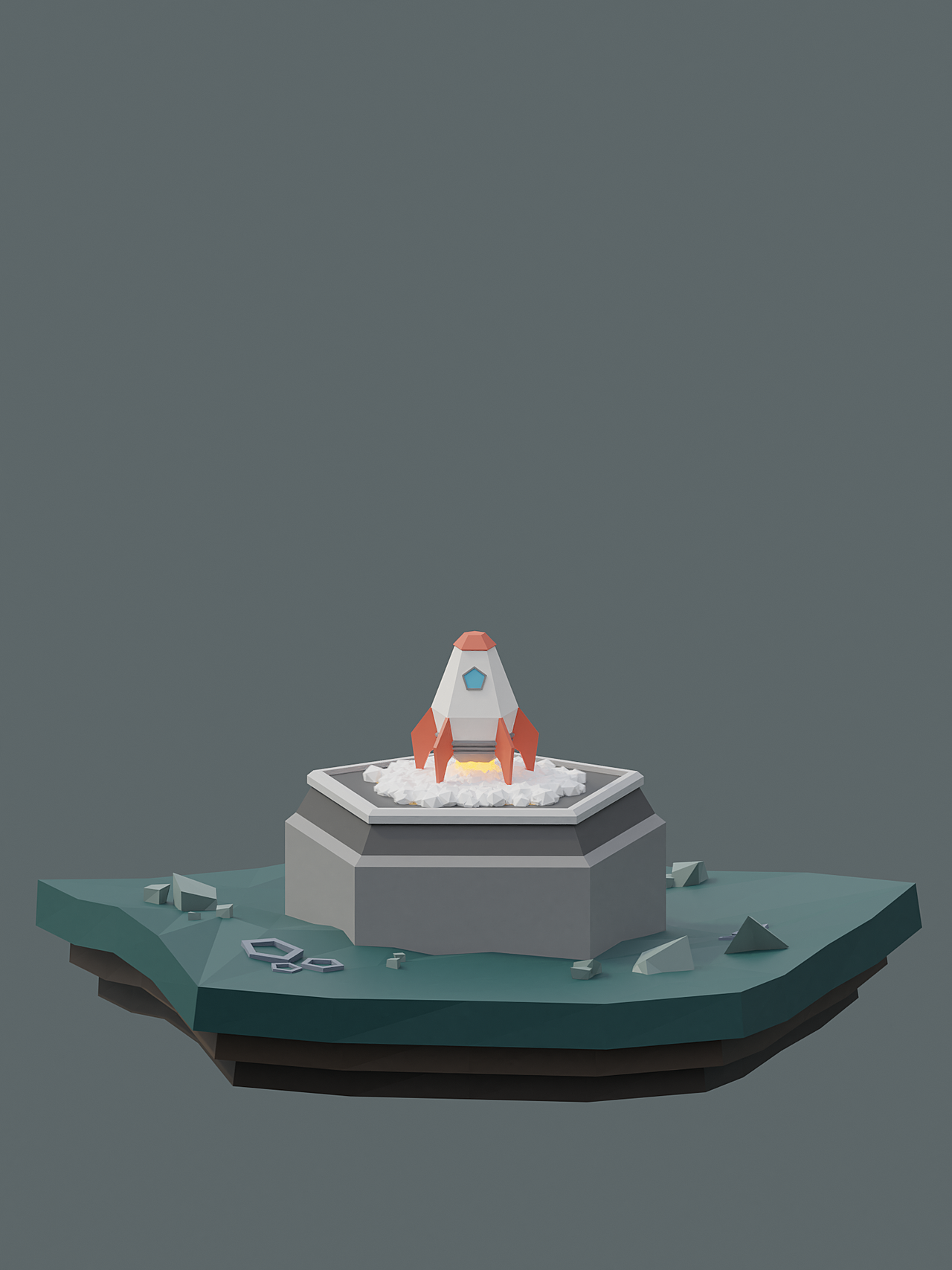 Low Poly Rocket Course Render