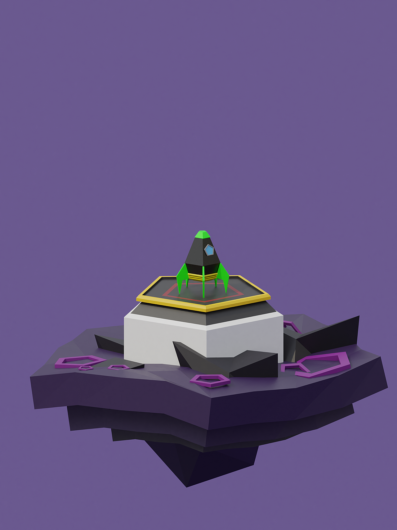 Completed Low Poly Rocket Course