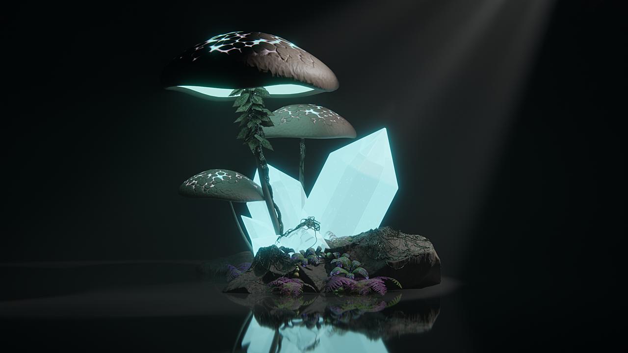 Glowing Mushrooms and Crystals