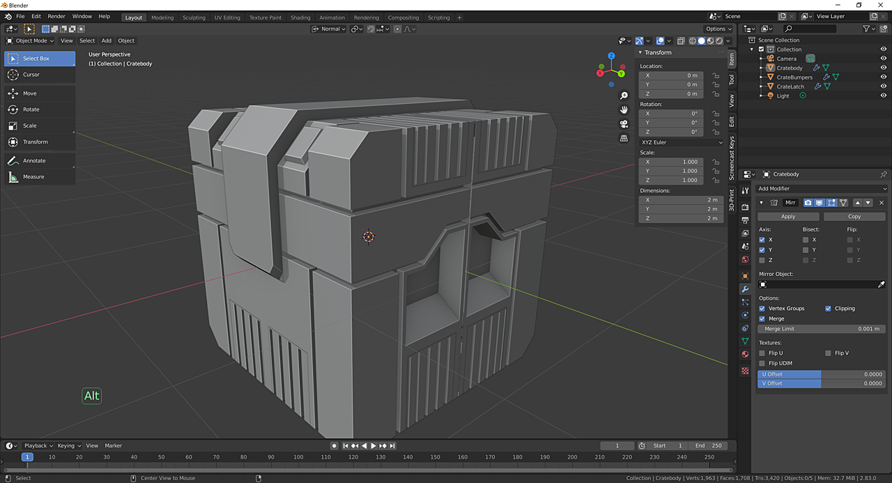 Sci-fi Crate from Fundamentals of 3D Mesh Modeling in Blender