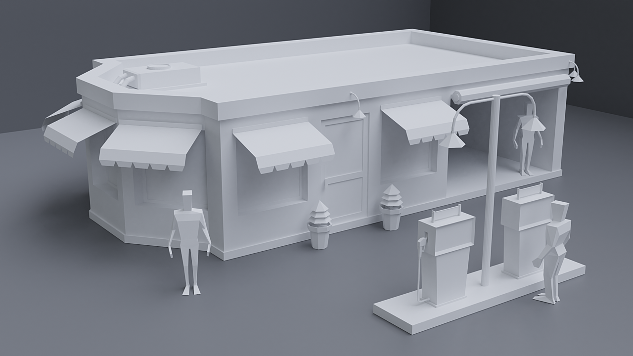 Low poly gas station