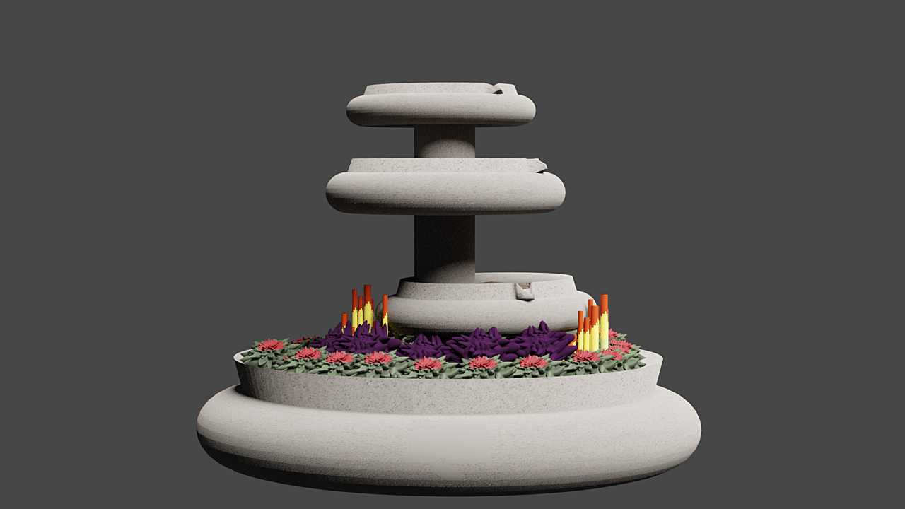 Work in Progress - Succulent Fountain Planter - All Done In Blender