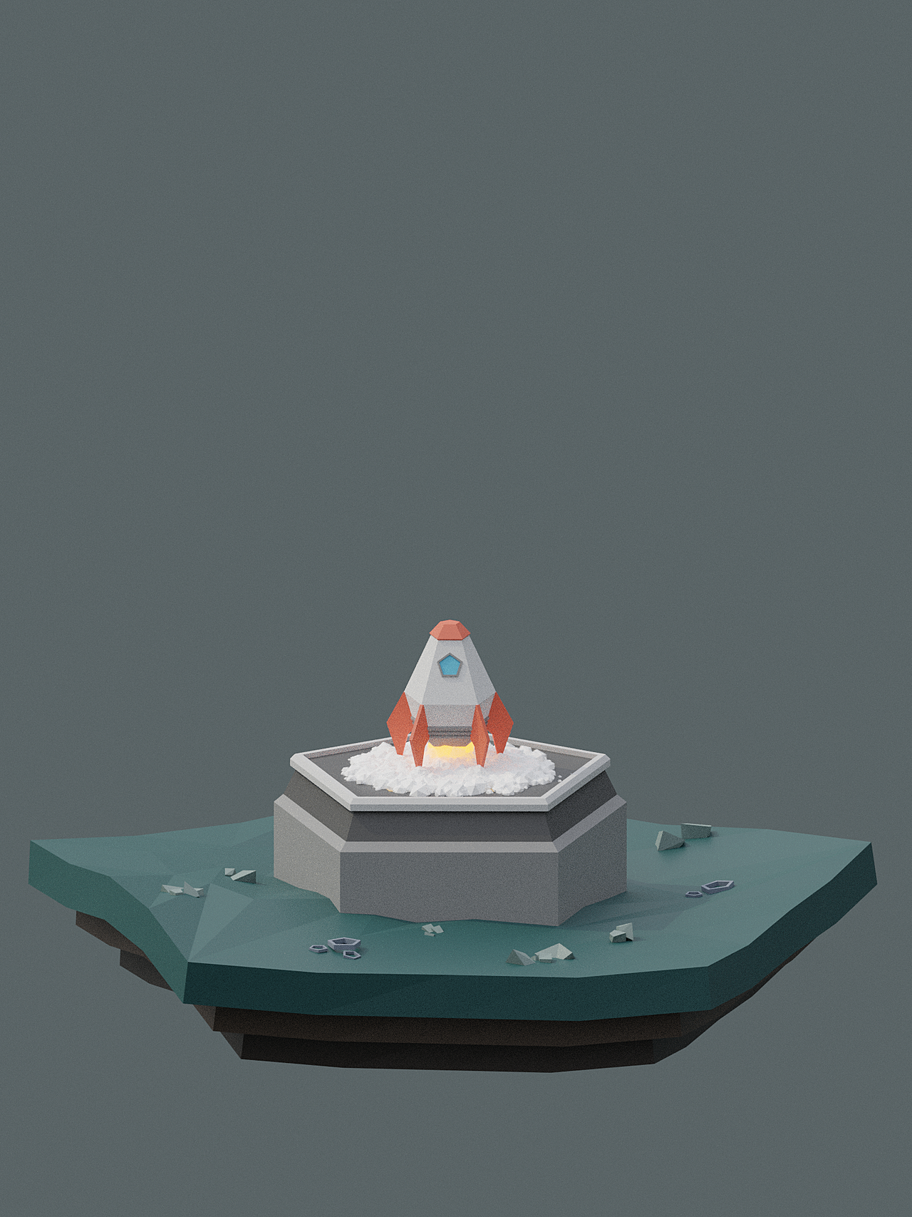 Low Poly Rocket Launch