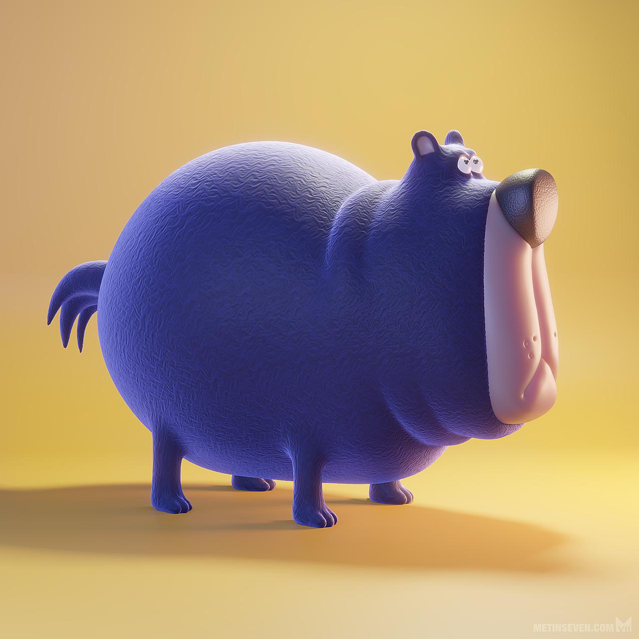 Cartoon-style 3D bear character