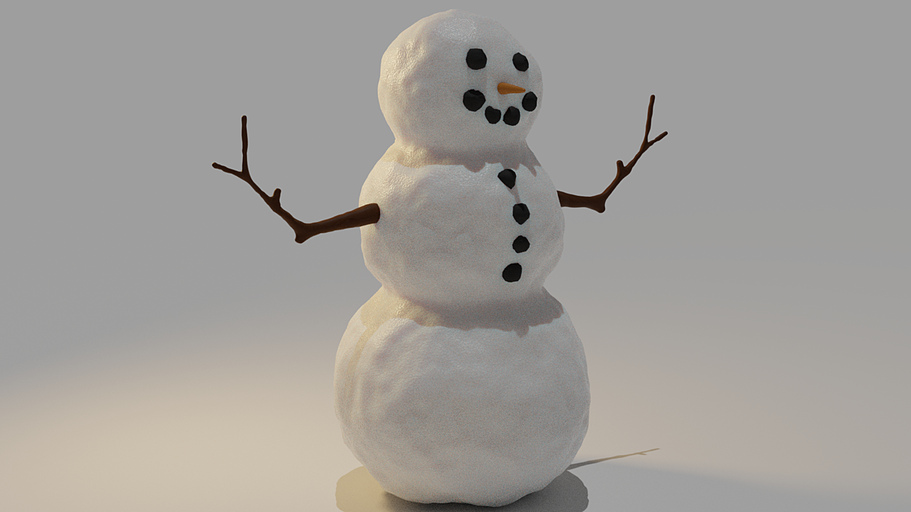 Snowman in Blender course result!