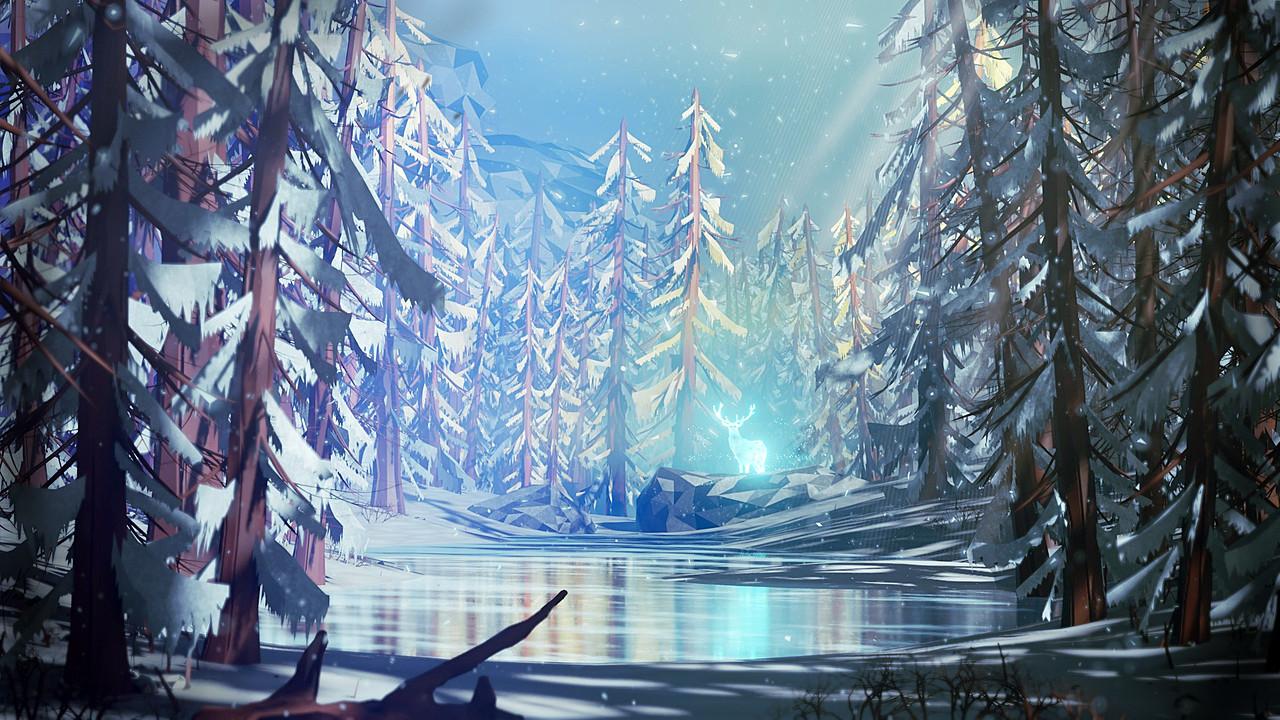 Snowy Stylized Forest