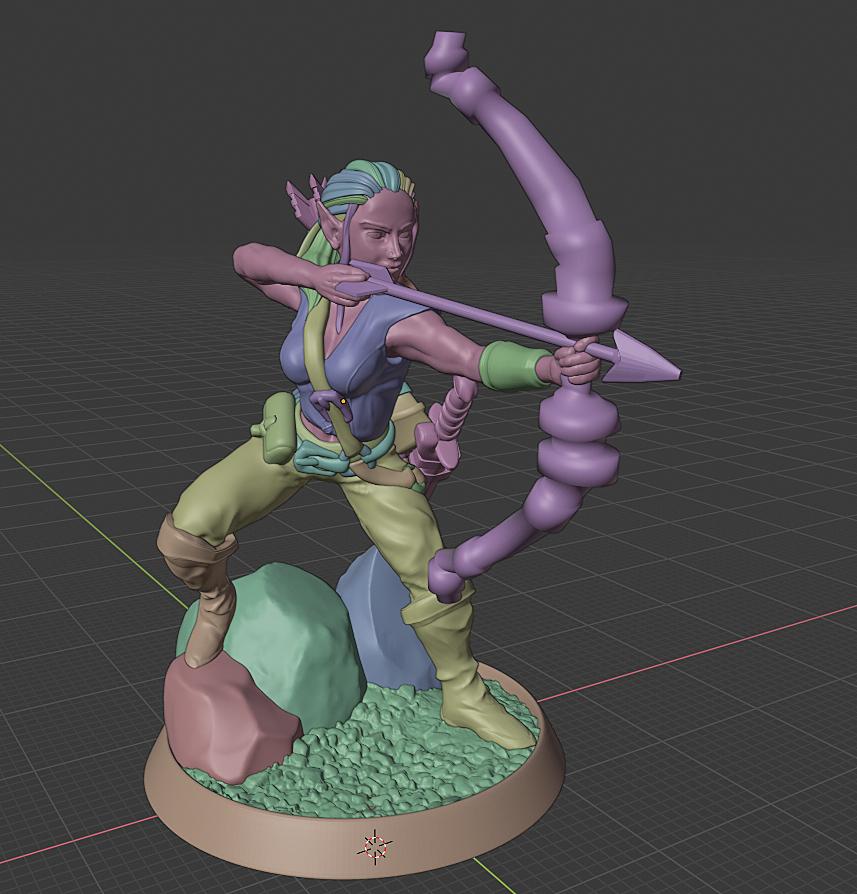 Elf Archer for 3D Printing