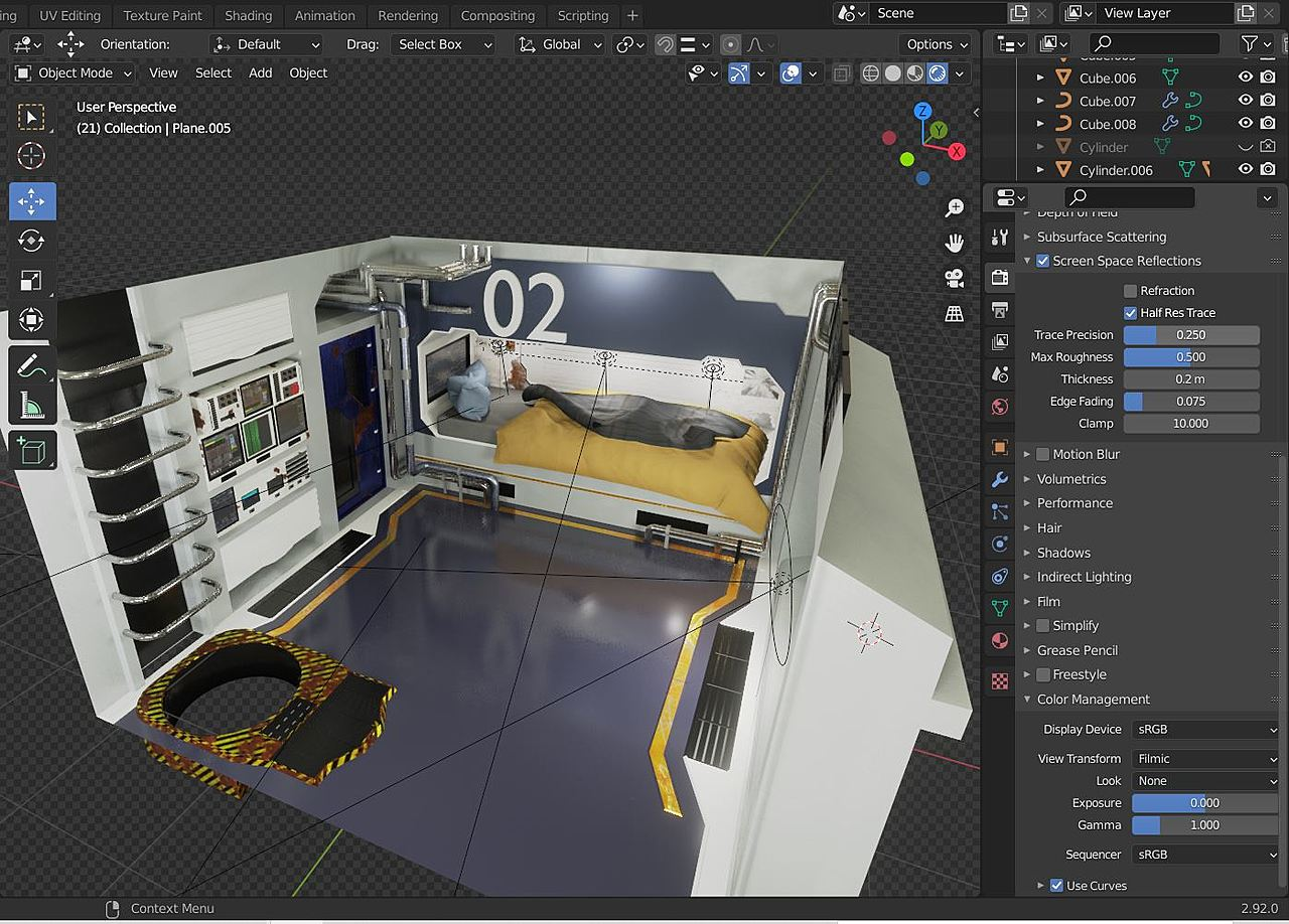 modeling a SciFi room based on the fundamentals of mesh modeling cours